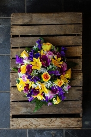 Artificial Yellow n Purple Posy