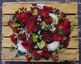 Red Artificial Grave Posy